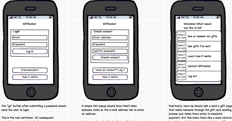 Old app wireframes